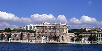 Ottoman palaces in Istanbul - Dolmabahçe Palace as seen from the Bosphorus