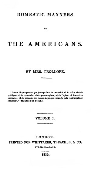 Domestic Manners of the Americans - First edition title page