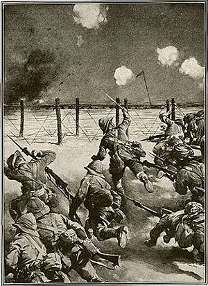 Battle of Es Sinn - Artist's illustration in a popular war-time magazine depicting an idealized view of the attack of the Dorsets against the left flank of the Ottoman trenches on 28 September 1915. Interestingly, mixed in with the Dorset figures are turbaned Sikh sepoys, despite the fact that the other unit participating in the initial attack was the non-Sikh, 117th Maharattas.