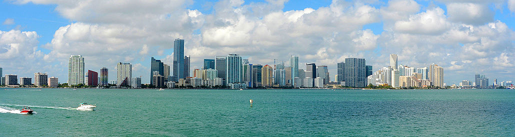 Downtown Miami Skyline as seen from the Rusty Pelican restaurant on Virginia Key.