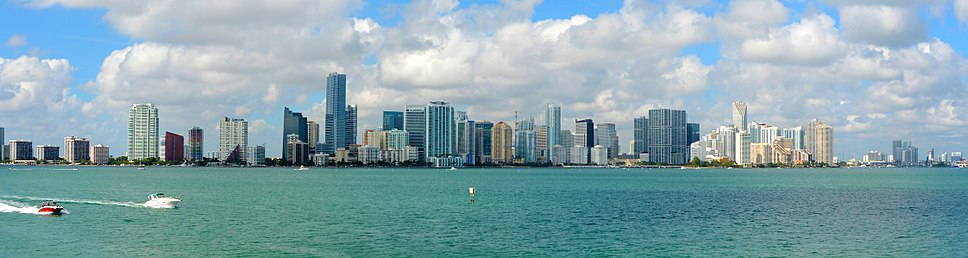 Downtown Miami Skyline (in 2014) as seen from the Rusty Pelican restaurant on Virginia Key.