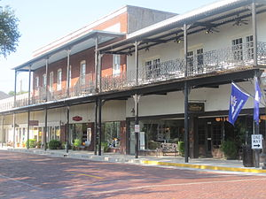 Downtown Natchitoches, LA, showing brick streets