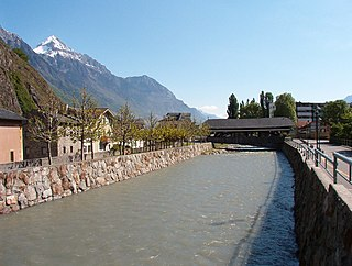 Drance river in Switzerland