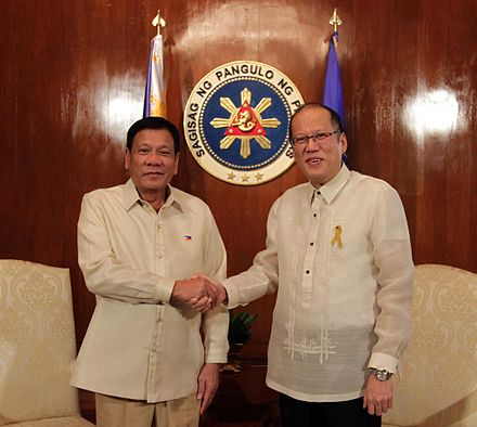 President-elect Duterte (left) and outgoing President Benigno Aquino III at Malacanang Palace on inauguration day, June 30, 2016 Duterte and Aquino June 2016.jpg