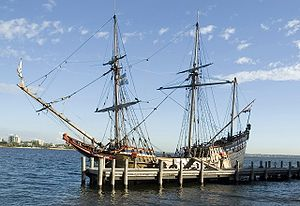 Janszoon voyage of 1605–06 - Duyfken replica on the Swan River in 2006