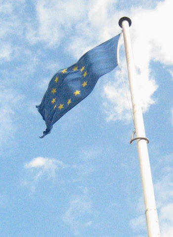 European flag outside Barnet Council, London UK