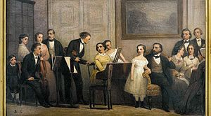 Brønnum House - Edvard Lehmann : A music soirée inMartin Henriques' home at Tordenskjolsgade 1, 1868. Niels W. Gade is one of the people seen in the picture
