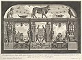 Egyptian decoration of the Caffè degli Inglesi- Animals on the cornice, including a bull at the center, from Diverse Maniere d'adornare i cammini... (Diverse Ways of ornamenting chimneypieces...) MET DP105016.jpg