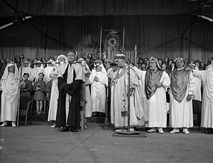 National Eisteddfod of Wales - The chairing ceremony of the 1958 National Eisteddfod; the victorious poet was T. Llew Jones