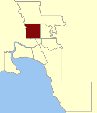 Electoral district of North Melbourne - Location within Greater Melbourne area, 1859