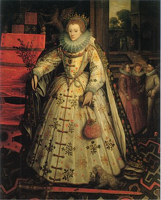 Olive branch - Portrait of Queen Elizabeth I by Marcus Gheeraerts the Elder, painted between 1580 and 1585, and showing her with an olive branch in her right hand.