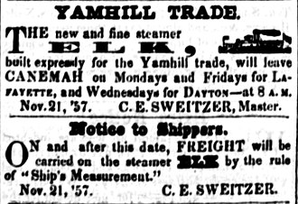 Elk (sternwheeler 1857) - Advertisement for the new steamer Elk, placed October 16, 1858