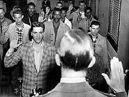 Elvis being sworn into the US Army
