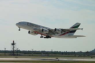 Emirates (airline) - An Emirates A380-800 (A6-EUE) taking off from New York JFK Airport. Emirates is the largest operator of the plane.
