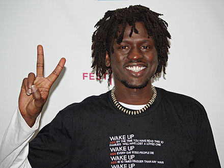 South Sudanese musician Emmanuel Jal uses hip hop to heal war-torn African youth. Jal pictured at the Tribeca Film Festival in New York Emmanuel Jal by David Shankbone.jpg