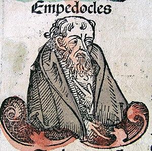 farbig kolorierte Zeichnung von Empedokles