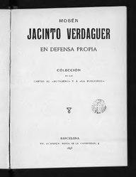 Jacinto Verdaguer: En defensa pròpia