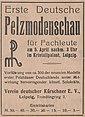 Zeitungsannonce zur ersten Deutschen Pelzmodenschau 1921