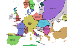 Europe in 998 , Hungary in light blue