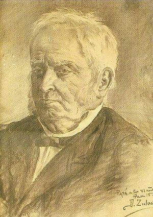 Eusebio Zuloaga - Portrait of Eusebio Zuloaga, pencil on paper drawing by his son Daniel Zuloaga, in 1899.