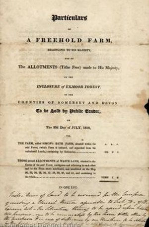 Simonsbath - Sale particulars published in 1818. Somerset Archives.