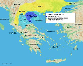 Macedonia (Greece) - The expansion of ancient Macedonian kingdom up to the death of Phillip II.
