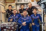 Expedition 59 welcoming ceremony inside the Zvezda service module (cropped).jpg
