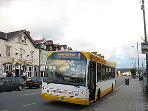 Express Motors - East Lancs Myllennium bodied MAN 14.220 in Porthmadog in July 2007