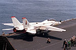 F-14A of VF-11 is launched from USS Forrestal (CV-59) in July 1988.jpeg