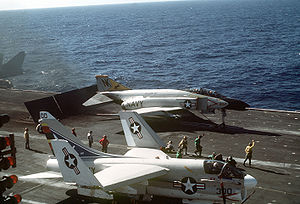 VF-21 - An F-4N from VF-21 awaiting launch from USS Coral Sea.