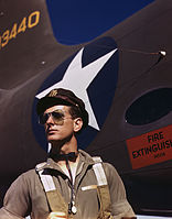 F.W. Hunter, Army test pilot, Douglas Aircraft Company plant at Long Beach, Calif.jpg
