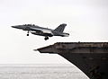 F18 Super Hornet Jet takes off from USS Enterprise MOD 45154180.jpg