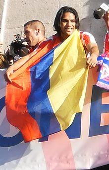 Radamel Falcao celebrating the club's win in the 2012 UEFA Europa League Final, in which he scored twice