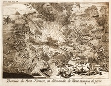 Parma nearly died during the attack on his pontoon bridge in 1585. Famiano  Strada: Histoire de la guerre des Païs-Bas, 1727.