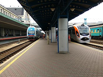 Kyiv Boryspil Express - Image: Fast trains at Kyiv Railway Station