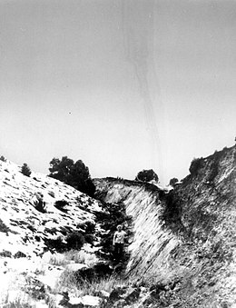 Fault scarp near Fairview Peak, Nevada resulting from the December 16, 1954 earthquake.jpg