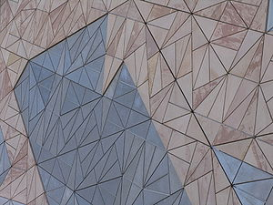 Pinwheel tiling - Federation Square's sandstone façade