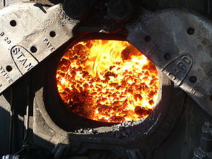 Firebox (steam engine) - Image: Firebox on a steam train