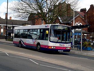 First Potteries - Wright Axcess-Floline bodied Scania L94UB in Burslem in April 2009