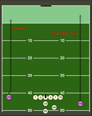 Route (gridiron football) - A fly (streak) route
