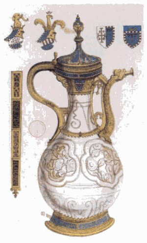 William Thomas Beckford - The Fonthill vase, made in Jingdezhen, China but adorned with metallic mounts in Europe, was the earliest piece of Chinese porcelain documented to reach Europe, in 1338. It was once in the possession of William Thomas Beckford.