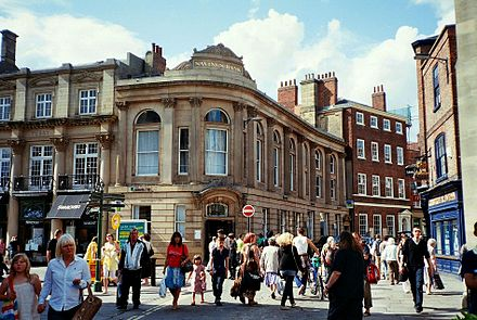 Commerce accounts for a large part of the city's economy. Former Savings Bank, St Helen's Square, York.jpg