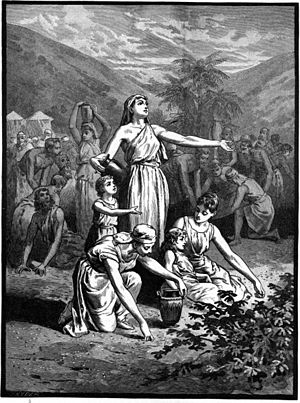 English: The Israelites Gather Manna in the Wi...