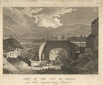 Broadstone, Dublin - The view south from Foster Aqueduct circa 1827