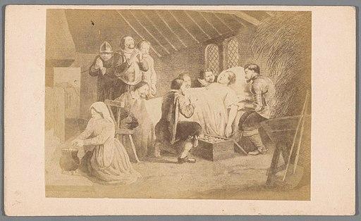 Fotoreproductie van een gravure van het sterfbed van Adolf van Nassau in 1609, RP-F-1999-58