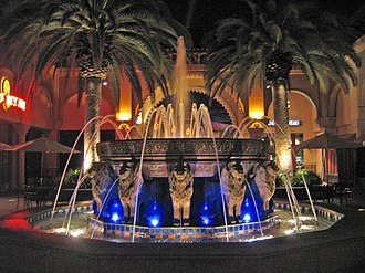 Irvine Spectrum - An illuminated fountain, designed after the Alhambra's Court of the Lions