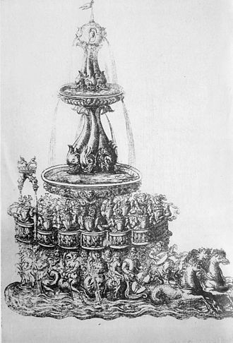 Catherine de' Medici's court festivals - In the Ballet Comique de la Reine, 1581, a fountain chariot carried Queen Louise and her ladies and musicians. Engraving by Jacques Patin.