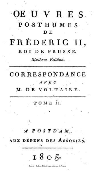 File:Frédéric II de Prusse - Correspondance avec Voltaire, tome 2.djvu