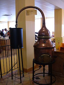An old perfume still on display at Fragonard Fragonard small perfume distillery.JPG