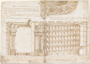 Francesco Galli Bibiena - Section and ceiling of the original Teatro Filarmonico in Verona, ca. 1715-1720; drawing now in the Cooper–Hewitt, National Design Museum